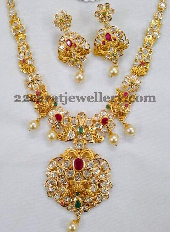 Jewellery Designs: Latest Pachi Work Necklace