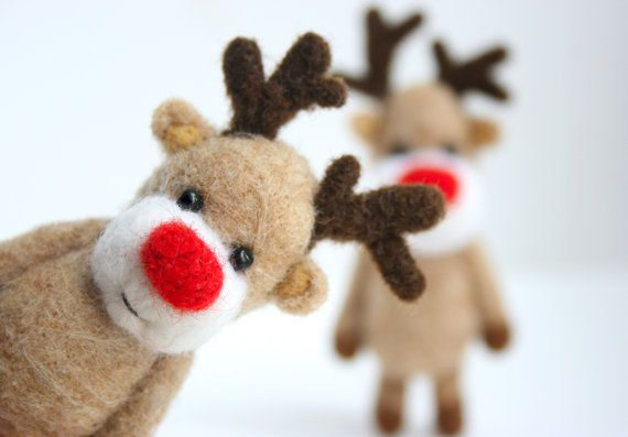 Needlefelted Rudolph the RedNosed Reindeer by unpetitours on Etsy, $39.00