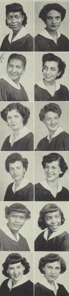 1952 hairstyles, in the yearbook of  Sarah J. Hale Vocational high school in Brooklyn, New York.  #SarahJHale #yearbook #Brooklyn #1952