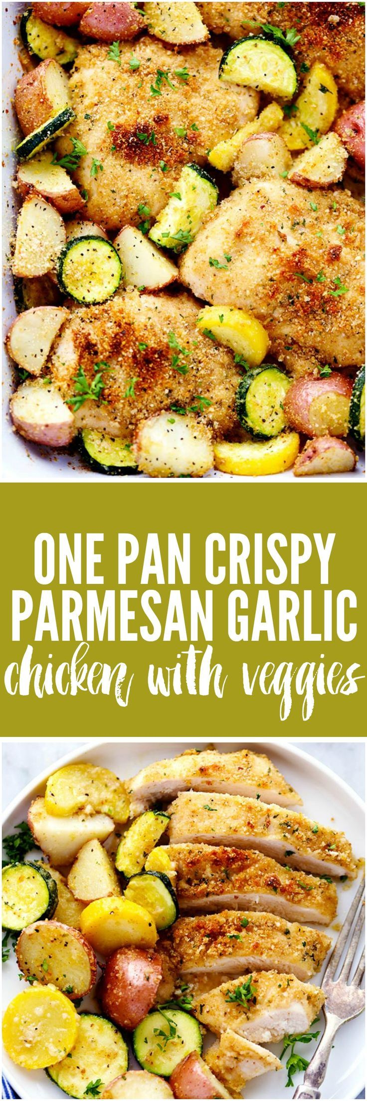 One Pan Crispy Parmesan Garlic Chicken with Vegetables will be one of the best one pan meals you ever make. The tender and juicy baked chicken have the best crispy parmesan garlic coating and the veggies are full of amazing flavor!