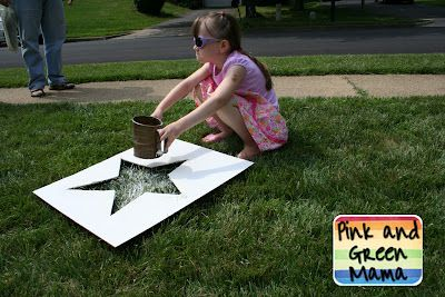 Sifted flour stars in the lawn #fourthofjuly