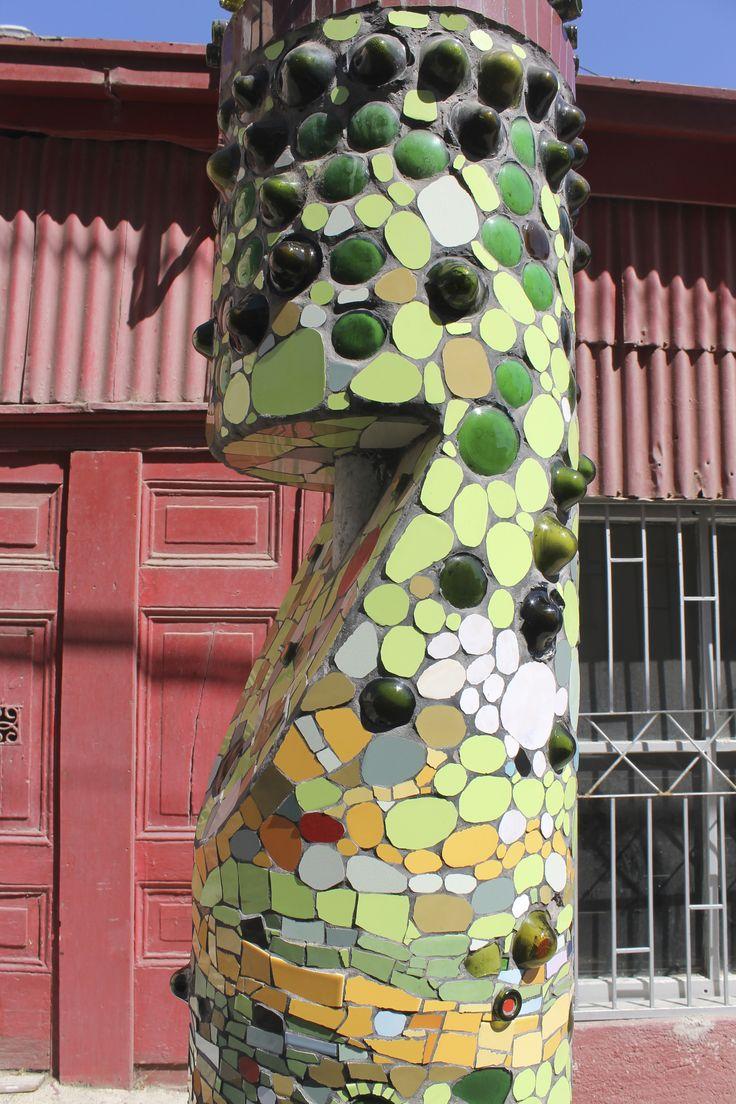 Green mosaic street art in #Valparaiso #Chile