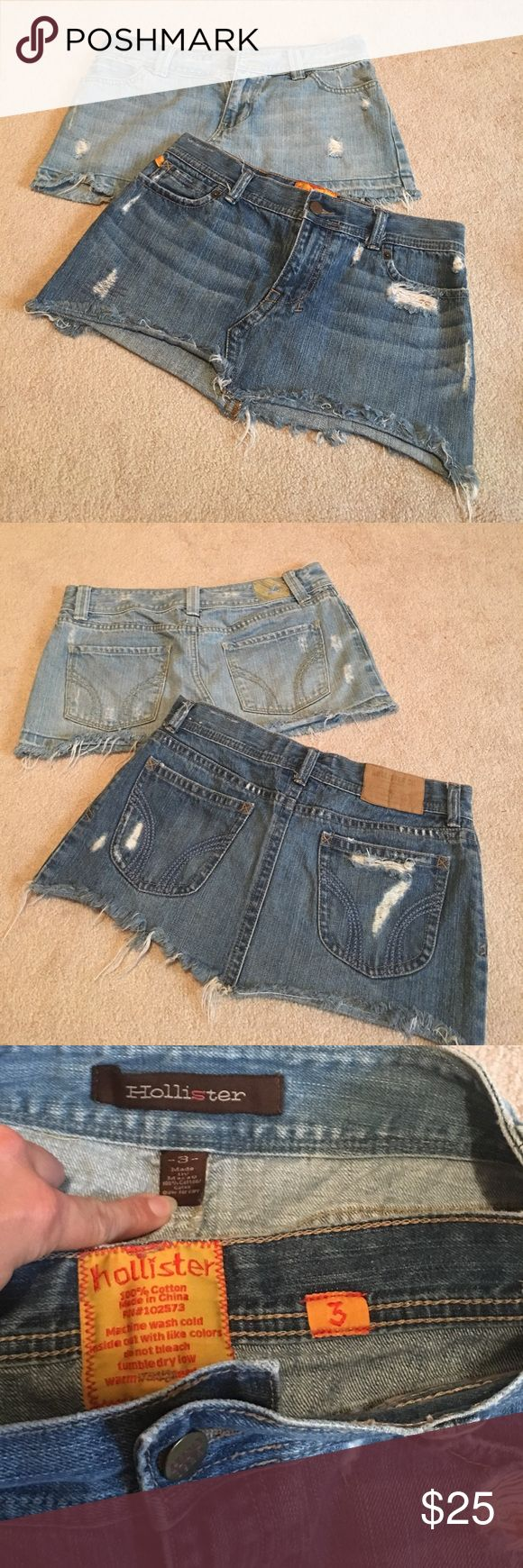 Lot of 2 Hollister distressed Jean skirts Both Sz 3 distressed look. Great condition.  Have way too many jean skirts so time to part with more of them. Smoke and pet free home Hollister Skirts Mini
