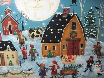 Original OOAK New England Folk Art Christmas Village Canvas Painting | eBay