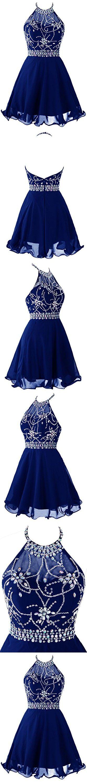 Topdress Women's Short Beaded Prom Dress Halter Homecoming Dress Backless Royal Blue US 20Plus
