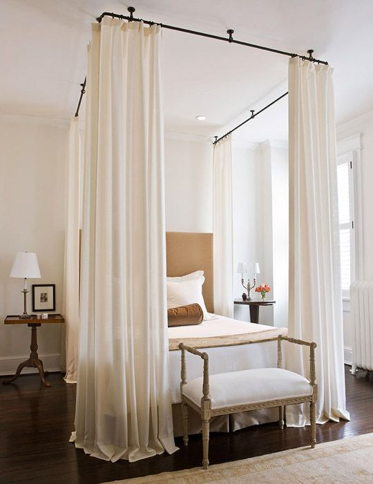"""DIY Bed Drapery Panels. Measure WxL on bed. Choose a curtain rod that is about 2-3"""" larger than the bed measurements. Measure the height from rod to floor. Fabric should be several inch longer to allow for hem and circle rings/curtain strips/sewn rod insert. Hang canopy. If you choose, you can make it slightly longer than the boxspring to sew on beaded/other decor fringe."""