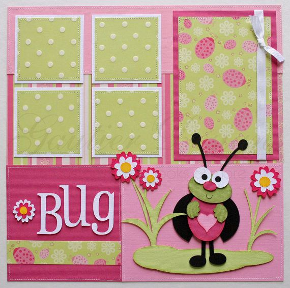12x12 premade scrapbook pages Lady Bug by gautierdesigns on Etsy,
