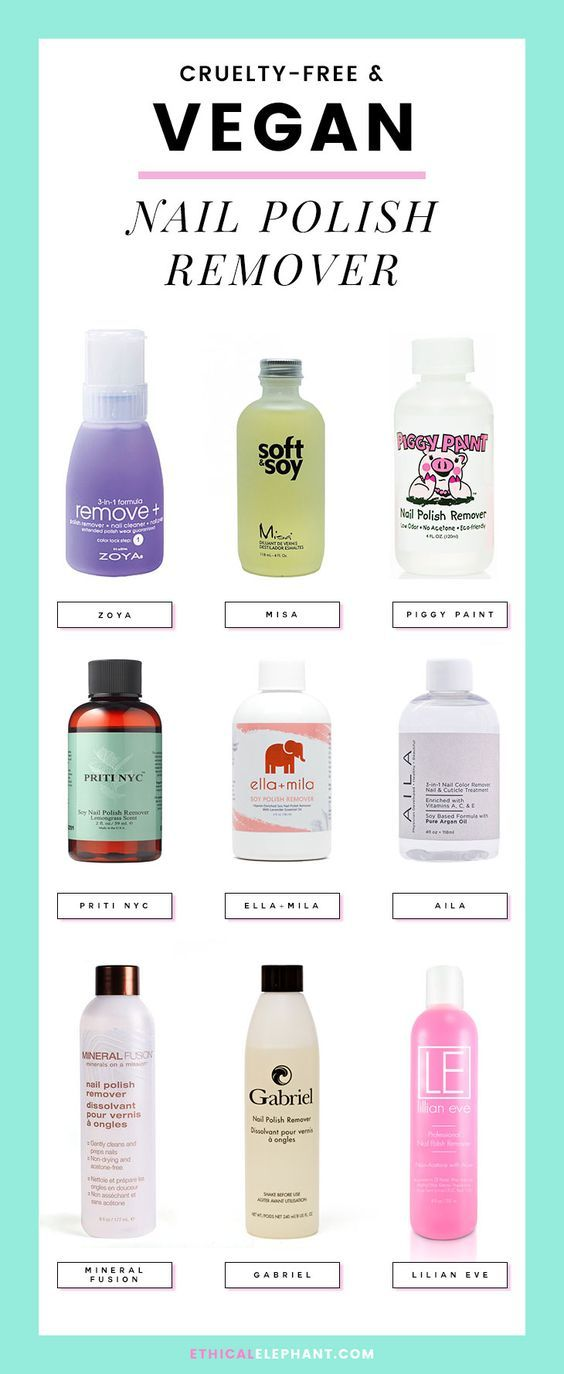 Various cruelty-free and vegan nail polish remover from select brands that don't test on animals!