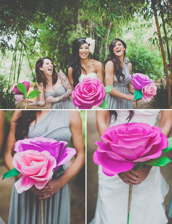 Forgo the typical bouquet for one big-ass paper flower. | 31 Impossibly Fun Wedding Ideas: