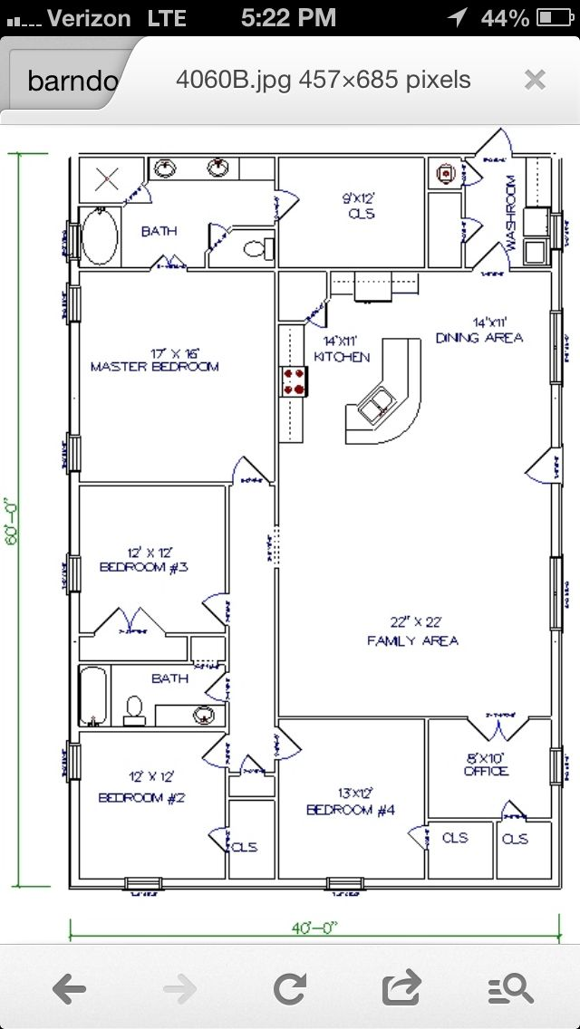 Barn House - workable floor plan...Add huge garage/shop to end where washroom is...Open up the one bedroom at end of family room to make it a playroom..I've always kinda wanted a barn house IF/when we build...