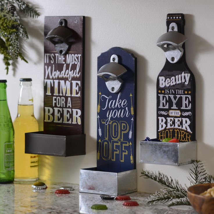 Pop a top and enjoy a nice cold one with Kirkland's Beer Bottle Opener Plaques!