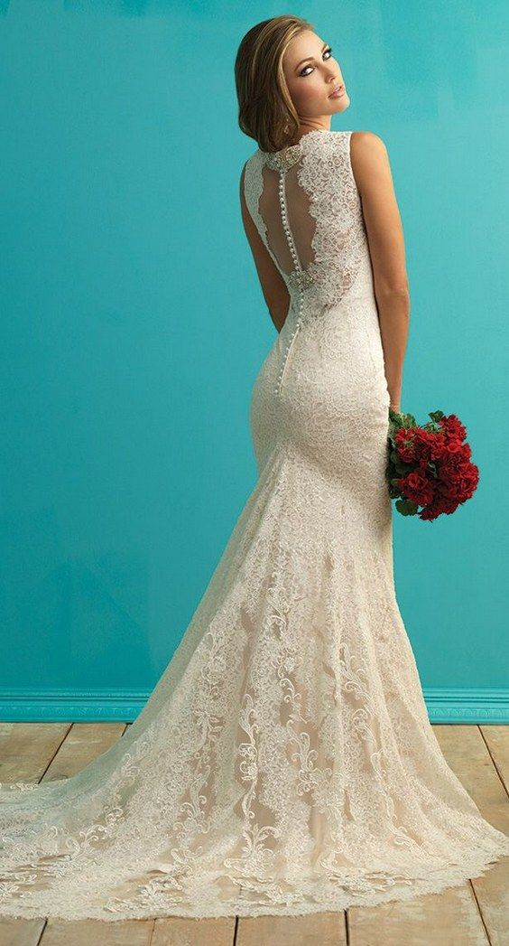 Allure Bridals Fall 2015 Lace Wedding Dress / http://www.deerpearlflowers.com/lace-wedding-dresses-and-gowns/