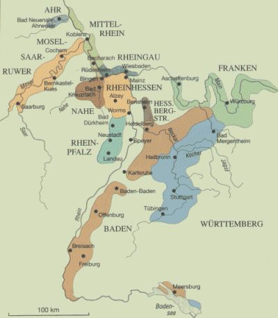 Map of German wine regions