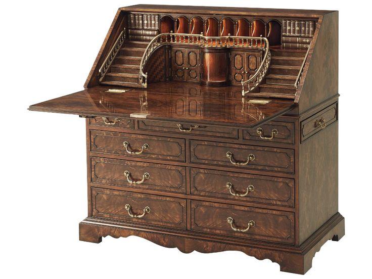 Theodore Alexander Flame Figured Veneer Roll Top Desk in