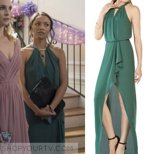 Bonnie Bennett / Kat Graham green dress in The Vampire Diaries 8x09 - The Simple Intimacy of The Near Touch