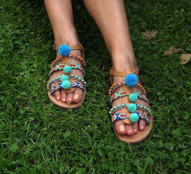 "Strappy Leather Sandals, Gladiaror sandals, Ethnic Sandals, Boho Sandals,Greek Handmade Sandals, ""Ios"""