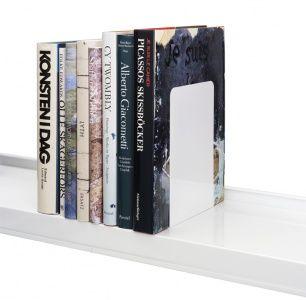 Metalen boekensteun, XL, wit