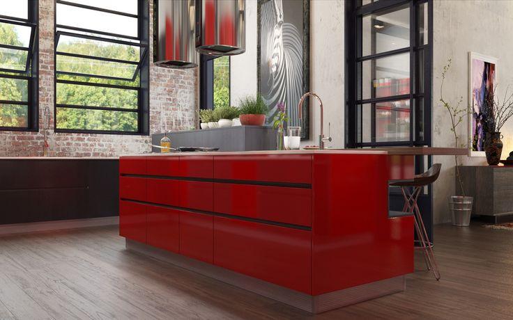 Industrial Element Social Kitchen Dry Kitchen Red Island