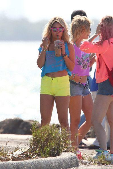 "Vanessa Hudgens in Fuchsia Premiums, on the set of ""Spring Breakers"""