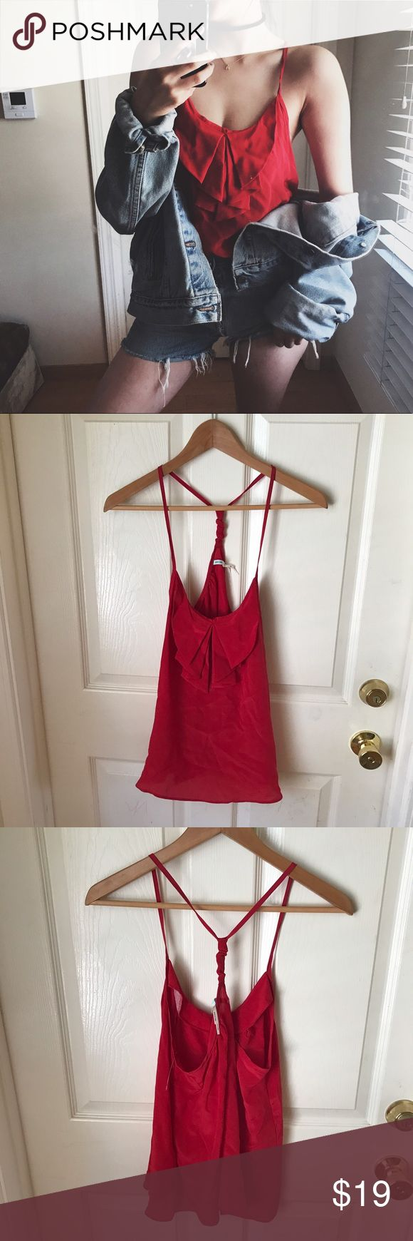 🍦Kimchi blue cami top Red sexy silk cami top from urban outfitters.  🍦sale!! Bundle Any 3 items marked with🍦for $39!!! Urban Outfitters Tops Blouses