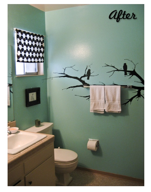 love this! a possible option for a tiny unattractive bathroom