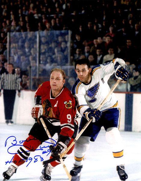 Bobby Hull Signed Chicago Blackhawks Action Vs Blues 11x14 Photo w/HOF 1983