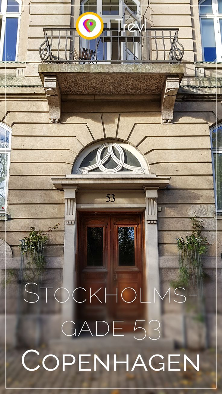 Elegant front door in the eastern part of Copenhagen, Denmark