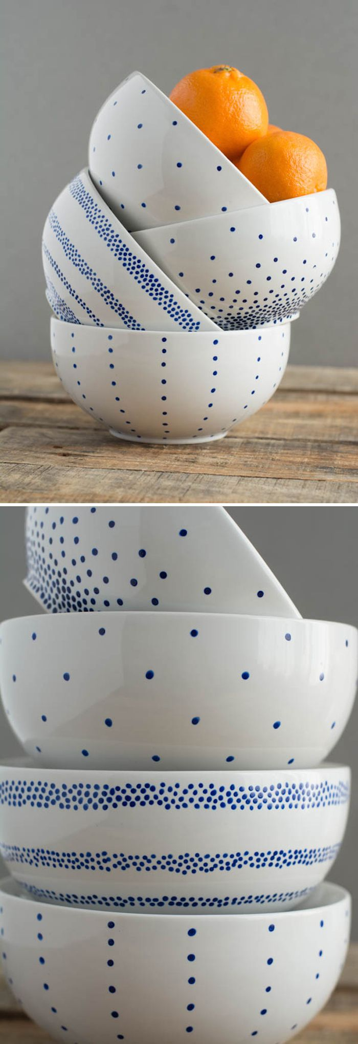 White ceramic plates for crafts - Diy A Set Of Pretty Painted Cereal Bowls