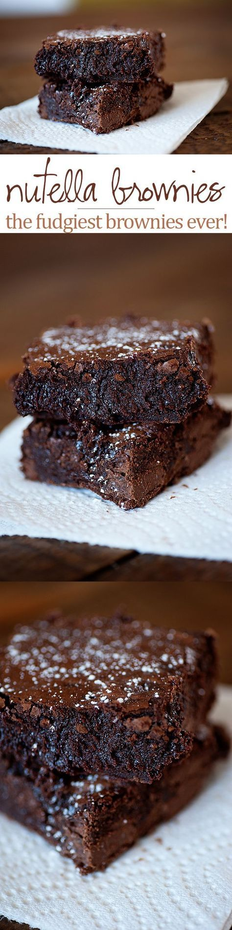Super fudgy Nutella brownies...these are so rich and full of chocolate!