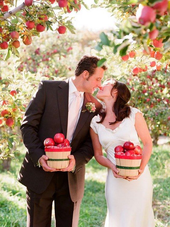 rustic fall apples wedding photo