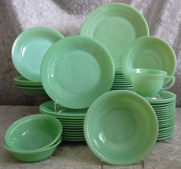 "Fire King ""Jane Ray"" Jadeite Dinnerware, 70 Pc. Set"