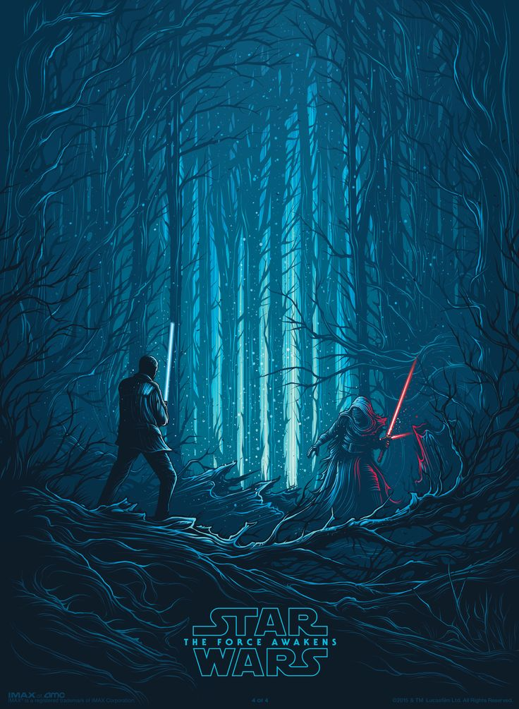 """Star Wars: The Force Awakens"" poster from IMAX - Finn and Kylo Ren"