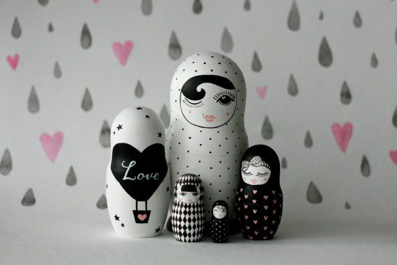 BLACK and WHITE wooden handpainted Russian nesting doll / matryoshka doll / babushka doll US$61.00 by Matreshkamania, based in the Czech Republic and selling on Etsy