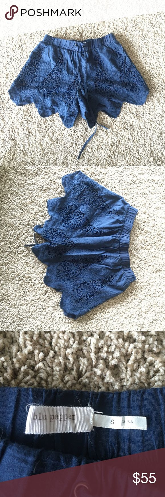 Navy Blue Shorts with Lace Detail I accept offered!! Perfect condition!! Navy blue shorts with tie string and beautiful lace detail. Blu Pepper Shorts