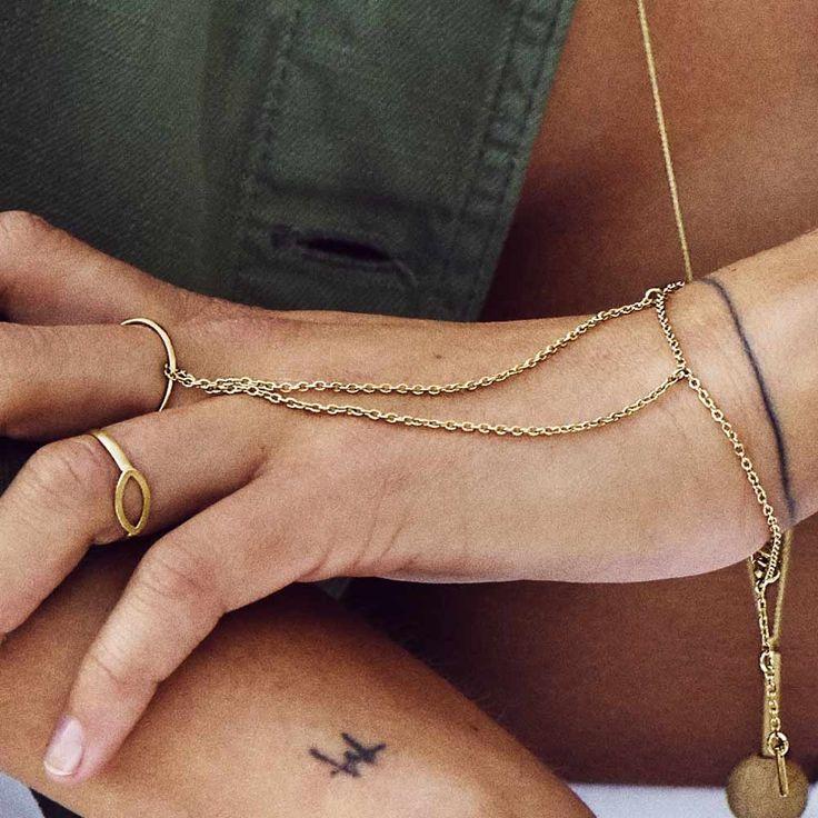 ❤ Pilgrim - Schlichte Handkette mit Ring - vergoldet | melovely
