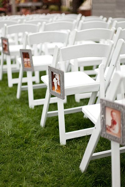 Line your aisle with photos of you two growing up — start with baby photos at the back, getting older as you approach the altar.