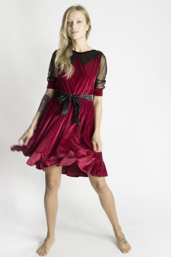 Let this luxuriously soft red velvet tunic dress take you to a magical place of passion and indulgence.
