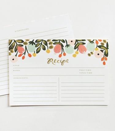 Hanging Garden Recipe Cards from Rifle Paper Co.