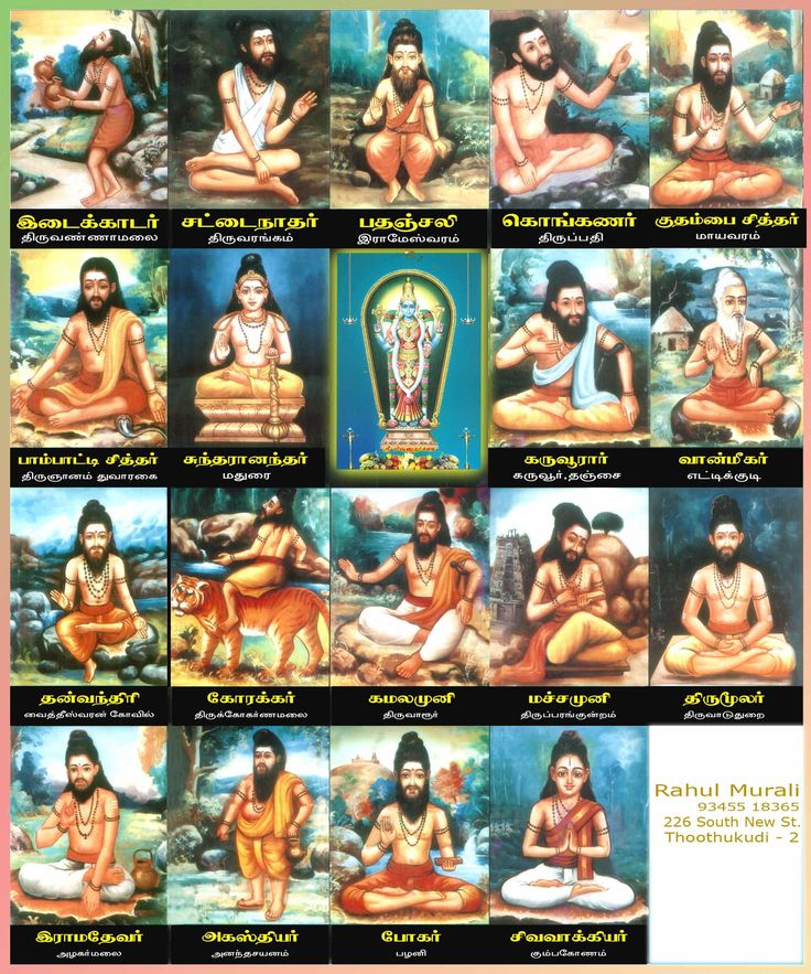 """""""There are 18 siddhars in the tamil siddha tradition. Each of the siddhars had lived in varied places under different names. """" http://skybabaji.org/images/18siddhas/siddhargal.jpg"""