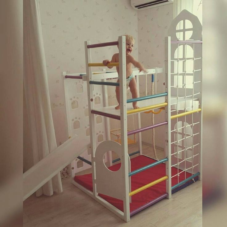 Kids Rooms Climbing Walls And Contemporary Schemes: Idea For A Kids` Room. Wooden Play House With A Door And
