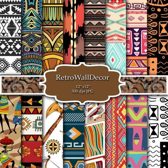 Stammes-digitalem Papier Stammes-Scrapbook von RetroWallDecor