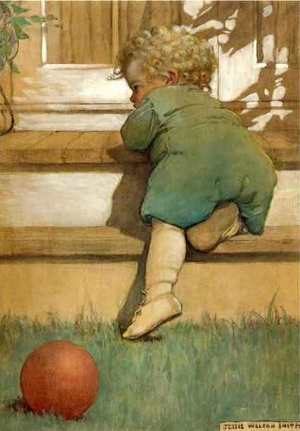 Menthe et Grenadine classic children shoes love this vintage illustration by Jessie Willcox Smith  Simliar white leather boots on www.menthe-et-grenadine.co.uk