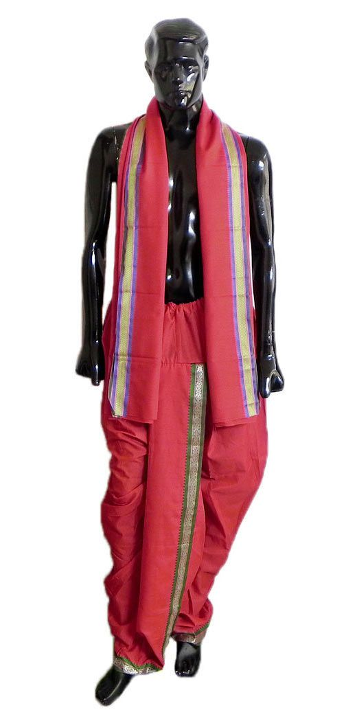 Pyjama Type Red Dhoti and Angavastram with Green and Purple Border for Performing Kali Puja (Cotton Polyester)