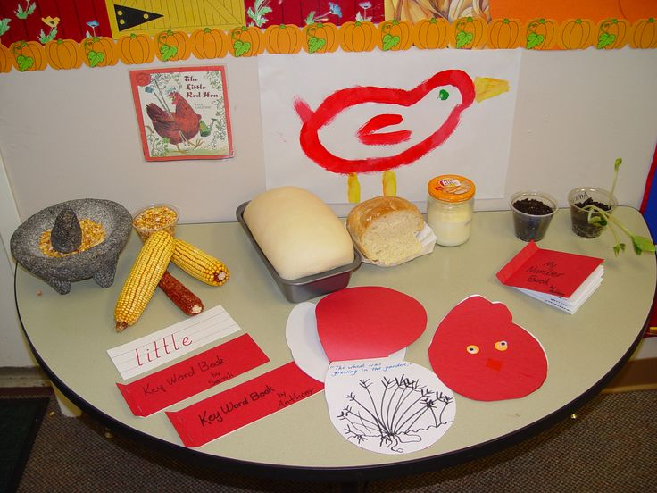 """Display wheat products for a Science table featuring """"The Little Red Hen"""" by Paul Galdone. Bake a loaf of bread from the freezer section of a grocery store."""