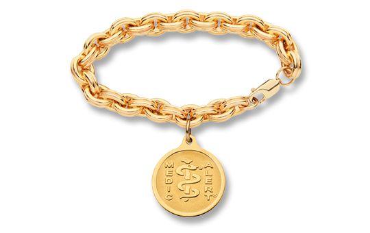 Gold-Filled Charm Double Cable-Link Bracelet - Small Emblem | Australia MedicAlert Foundation  #medicalert #medical_ID #medical_bracelet #safety #charm