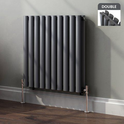 Huntington Horizontal Oval Tube Designer Gas Radiator in Anthracite 600mm x 600mm - soak.com