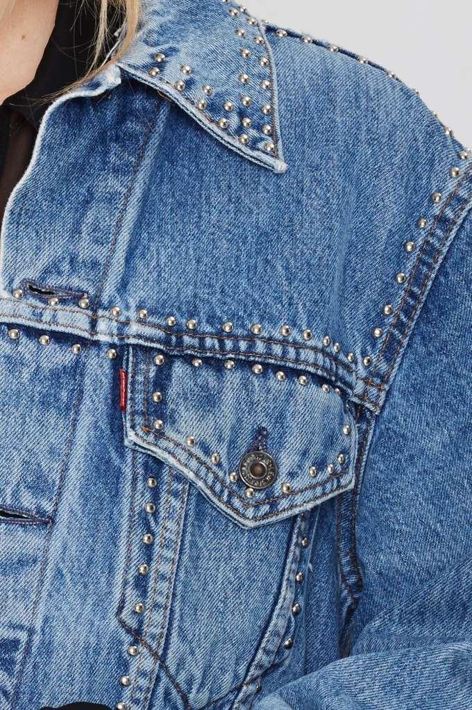After Party Vintage Total Stud Denim Studded Jacket -