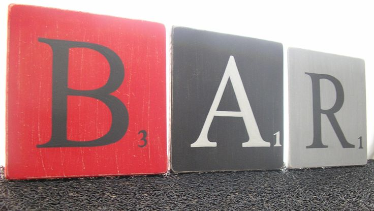 lettres 15x15 cm façon scrabble BAR