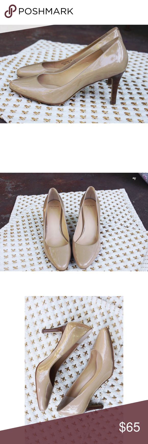 "Cole Haan Patent Pumps Beautiful nude patent pumps from Cole Haan in excellent condition, only worn once or twice. 3"" heel adds a height while still being super comfortable Cole Haan Shoes Heels"