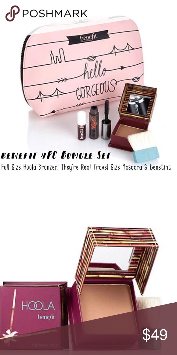 BENEFIT Hoola Bronzer 4 Piece Makeup Set Benefit 4 piece Makeup Set Includes: Benefit Full Size Hoola Bronzer, Benefit Travel size They're Real Mascara, Travel Size Benetinint and Limited Edition Benefit Makeup Bag. Everything New in package and 100% Authentic. Please let me know if you have any questions. 30% discount when using bundle feature. No Trades! PRICE Firm unless bundling. Benefit Makeup